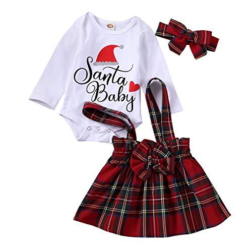 3 Piezas Vestido de Navidad para Bebé Niñas Ropa Navideña Top Mameluco de Cuello Redondo con Letras + Falda de Cuadros + Diadema para Recién Nacida (Cuadros 2, 3-6 Meses)