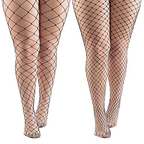 Aneco 4 Pairs Black Fishnets Tights Sexy Fishnet Pantyhose Stockings Fishnet Cross Mesh Stockings for Women