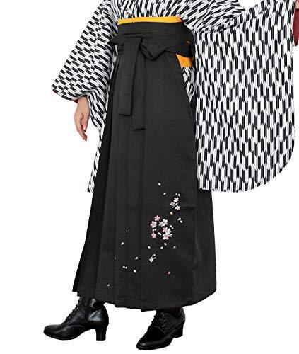[キョウエツ] 袴 刺繍 桜花冠 薔薇ブーケ 桜吹雪 レディース (S, 漆黒A)