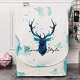 Funda de Lavadora Cubierta Impermeable para Lavadora/Secadora de Carga Frontal, Funda para lavadora-Ciervo pintado de azul real_Ancho 60 espesor 65 altura 85cm