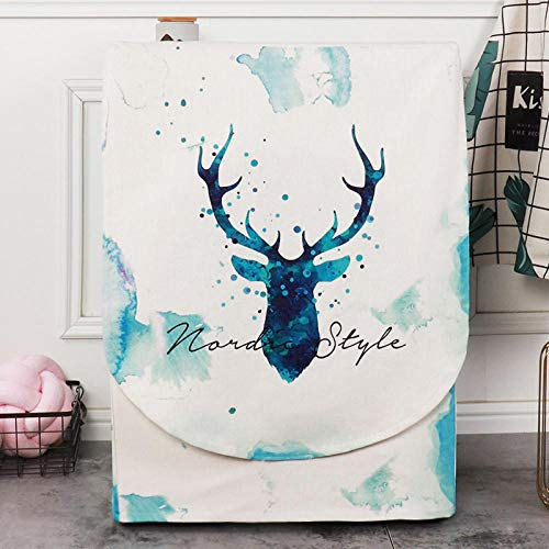 Funda para lavadora y lavadora de carga frontal para Lavadora/Secadora de Carga Frontal, Funda para lavadora-Ciervo pintado de azul real_Ancho 60 Espesor 55 Alto 85cm