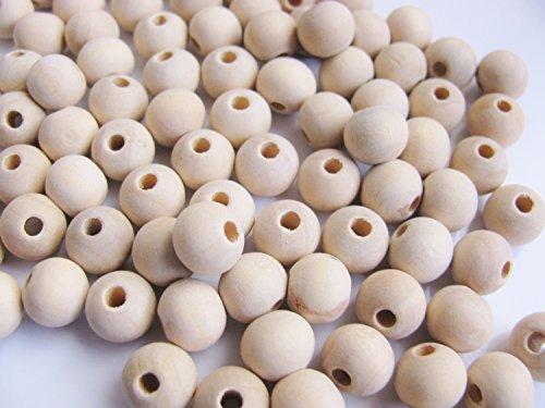 Wahlweise 50 o. 100 Holzperlen, Natur 10mm, Perlen basteln, fädeln Selbst Machen (50 Stück)