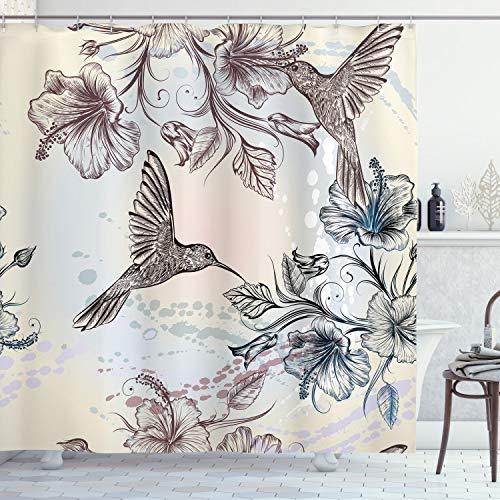 ABAKUHAUS Duschvorhang, Vögel & Hibiskus Blumen Nostalgie Antikes Künstlerisches Entwurf von Einem Klassiker Druck, Wasser & Blickdicht aus Stoff mit 12 Ringen Schimmel Resistent, 175 X 200 cm