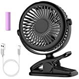 Stroller Fan, Cambond Clip On Fan Battery Powered Fan Rechargeable 2200mAh Battery, USB Cable, 3 Adjustable Speed, Desk Table Portable USB Small Fan for Travel Camping Fishing Boating, Black