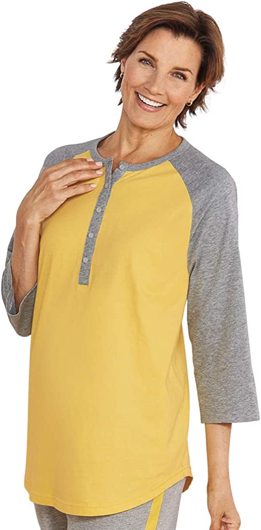 AmeriMark Henley Tunic Top Baseball Shirt Style Button Up T-Shirt for Women