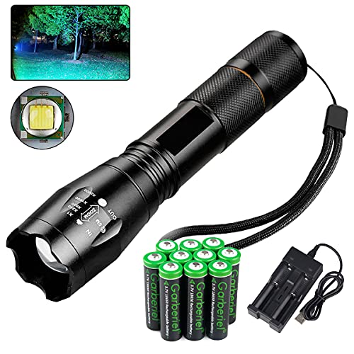 3000 Lumen LED 18650 Flashlight with 10 PCS 3.7V 3000mAh Rechargeable Battery and Charger, Super...