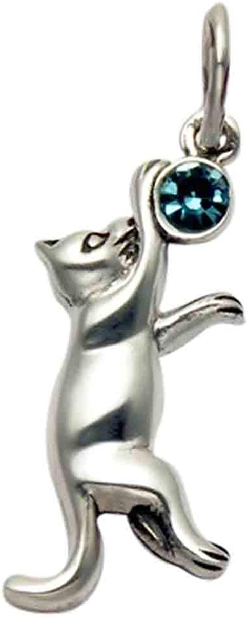 Wild Things Sterling Silver Max 82% OFF Jumping Cat Popular product Faceted Blue Pendant w C