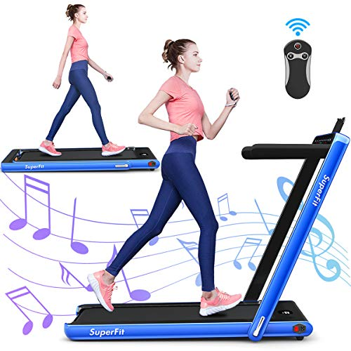 GYMAX 2 in 1 Under Desk Treadmill, 2.25HP Folding Walking Jogging Machine with Dual Display, Bluetooth Speaker & Remote Controller, Electric Motorized Treadmill for Home/Gym (Navy)