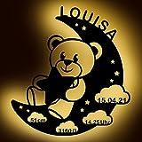LAUBLUST Schlummerlicht Bär im Mond - Personalisiertes Baby-Geschenk zur Geburt & Taufe - LED Beleuchtung | Weiß