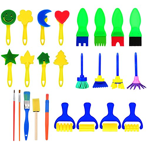 Hicarer 25 Stücke Schwamm Malerei Pinsel Set Kinder Früherziehung Zeichnung Werkzeuge für DIY Kunsthandwerk, Formen