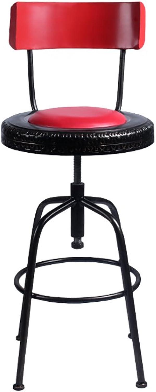 FFLSDR Iron Bar Chair, Bar Stool Simple Retro High Bar Chair High Stool High Stool Bar Stool Bar Chair Back Chair (color   A)