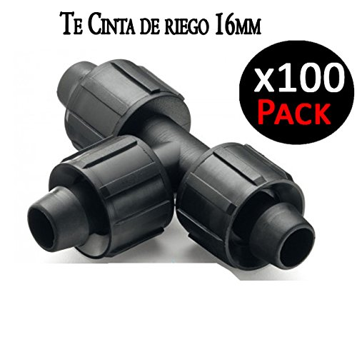 Suinga. Te Union para Cinta DE RIEGO por Goteo 16mm. Enlace para conectar tress Cintas de riego. Pack 100 Unidades.: Amazon.es: Jardín