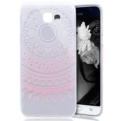 Galaxy J3 Emerge Case, Galaxy Express Prime 2 / J3 Emerge Case, PHEZEN Elegant Pink Mandala Floral Marble Flexible Soft Rubber Gel Clear TPU Cases Silicone Back Case for Samsung Galaxy J3 Emerge