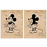 Vintage Mickey Mouse Patent Poster Prints, Set of 2 (11x14) Unframed Photos, Wall Art Decor Gifts Under 20 for Home, Office, Garage, Man Cave, Studio, College Student, Teacher, Coach, Disney Fan