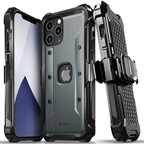 """Vena vArmor Rugged Case Compatible with Apple iPhone 12 Pro Max (6.7""""-inch), (Military Grade Drop Protection) Heavy Duty Holster Belt Clip Cover with Kickstand - Space Gray"""