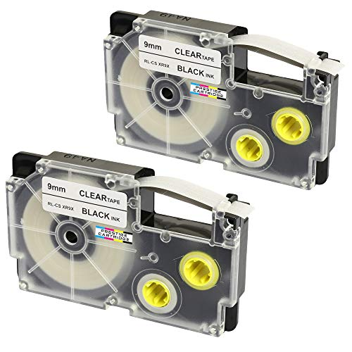 2 Kassetten XR-9X XR-9X1 schwarz auf transparent 9mm x 8m Schriftband kompatibel für CasioKL-60 KL-100 KL-120 KL-200 KL-300 KL-750 KL-780 KL-820 KL-2000 KL-7000 KL-7200 KL-8100 Beschriftungsgerät