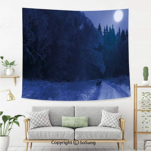 SoSung Night Sky Wall Tapestry,Alaska USA Forest Scenery Covered with Snow Lonely Wild Wolf and Moon Decorative,Bedroom Living Room Dorm Wall Hanging,60X50 Inches,Dark Blue and White