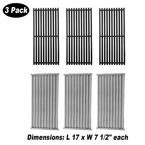 BBQ Future 3 Pack Cast Iron Grill Grate and Stainless Steel Emitter Kit for Charbroil 463242516, 463242515, 466242515, 466242615, 463243016, 463367516, 463367016, 466242516, 466242616, 463346017 Grates Grids