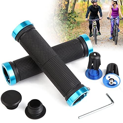Sporgo Ergonomic Fahrradgriffe,Rutschfeste Gummi Fahrradlenker-Griffe mit 2 Dehnbaren Aluminium Lenkerendkappen,Universal Fahrrad Griffe für MTB,BMX,Trekkingrad,E-Bike,Crossbike (Blau)