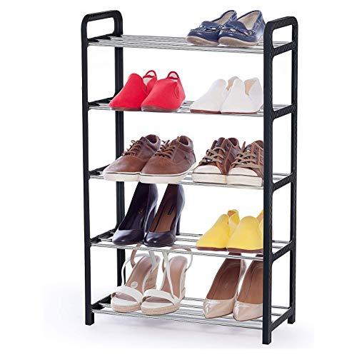 YUEWEIWEI Zapato 5 Niveles, sostiene hasta 10 Pares de Zapatos, se Adapta a Espacios Estrechos, Montaje sin Herramientas, Polos metálicos a Prueba de oxidación y Marco de plástico