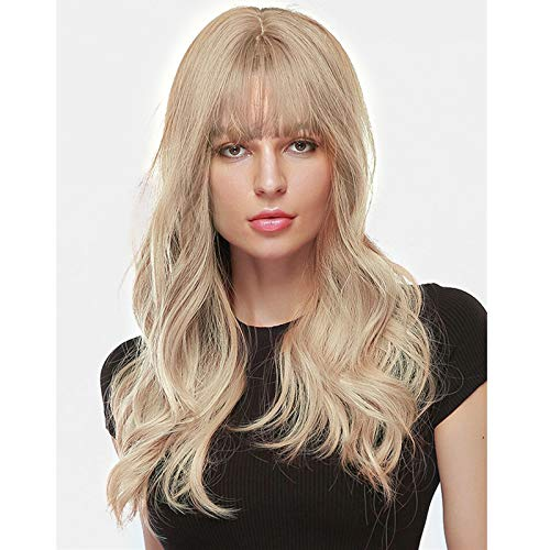"""ROLISY 24"""" Long Ash Blonde Wigs for Women Blonde Wavy Wigs with Bangs Mixed Color Best Heat Resistance Fiber Soft Hair Super Natural Synthetic Wigs Perfect for Daily Wear Party Cosplay Like Real Hair+ Free Wig Caps"""