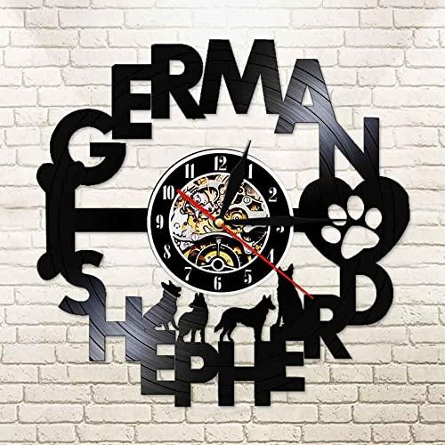 LED de colores Reloj de pared de vinilo cocina Reloj de pared con corte láser de pastor alemán, 12 pulgadas, decorativo, perro policía alemán, luz nocturna iluminada con LED
