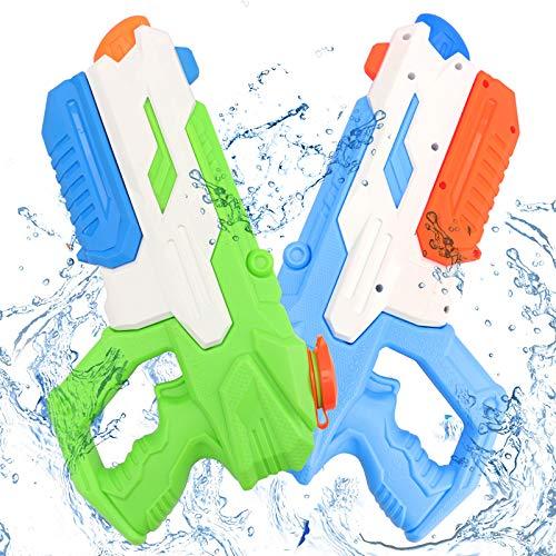 Pistola de Agua Grandes 2 Pack, Super Water Gun de Gran Capacidad 600ml, Largo Rango de 8-10 Metros, Juguetes de Guerra de Agua al Aire Libre de Verano para Niños y Adultos - Jardín, Piscina, Playa