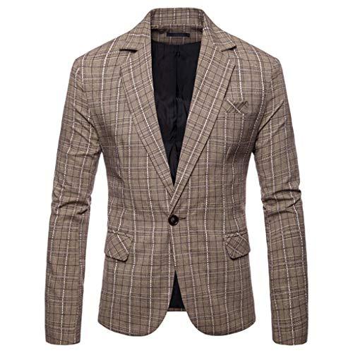 TWISFER Herren Blazer Plaid Sakko Business Hochzeitsanzug Revers Slim Fit Outwear Blazer Coat Outwear Anzuege Party Smoking Outwear Langarm Kostüm Eleganter Cocktail Jacket