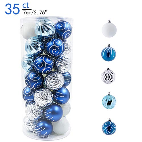 Valery Madelyn 35ct 70mm Winter Wishes Blue Silver Shatterproof Christmas Ball Ornaments Decoration,Themed with Tree Skirt(Not Included)