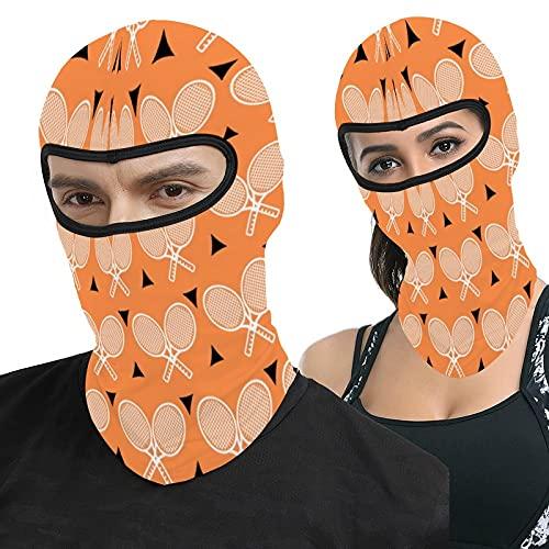 Zhark Raquetas de tenis blancas sobre fondo naranja Pasamontañas cara Ma-sk protección UV capucha resistente al viento máscara táctica para esquí ciclismo pesca al aire libre Caza