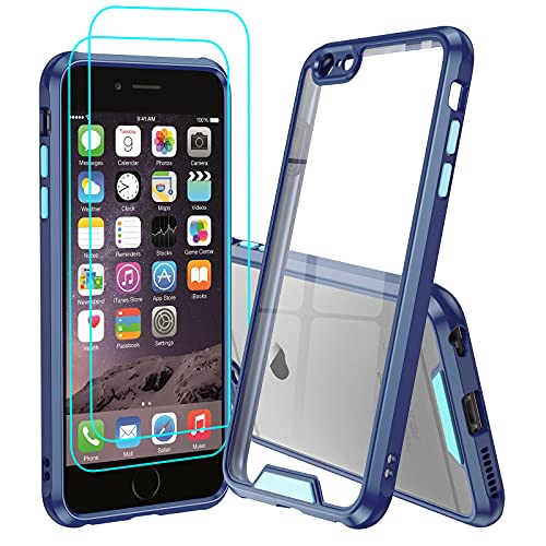 iPhone 6S Plus Case, iPhone 6 Plus Case with 2 Tempered Glass Screen Protector for Women Men, LeYi Clear Shockproof Bumper [Unique Buttons] Slim Protective Phone Cover Case for iPhone 6S Plus, Blue