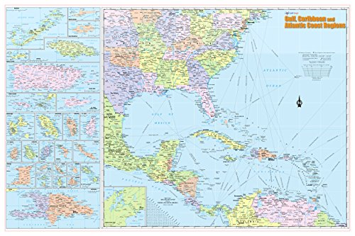 Cool Owl Maps Gulf, Caribbean & Atlantic Coast Regions Wall Map Poster 36x24 Rolled Paper 2019