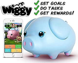 Wiggy Piggy Bank (Sky Blue): Smart Speaking Piggy Bank and Task Tracker