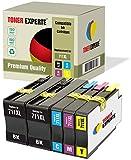 Pack de 5 XL TONER EXPERTE® Compatibles con HP 711XL 711 XL Cartuchos de Tinta para HP DesignJet T120, T520 (2 Negro, Cian, Magenta, Negro)