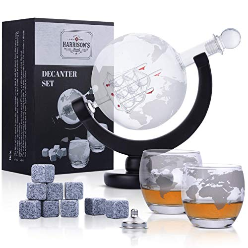 Decanter per whisky in vetro - Set di decanter per whisky in vetro - decanter da 850 ml con tappo in vetro, 2 bicchieri a globo incisi, imbuto di colata in acciaio inox e 9 pietre per whisky