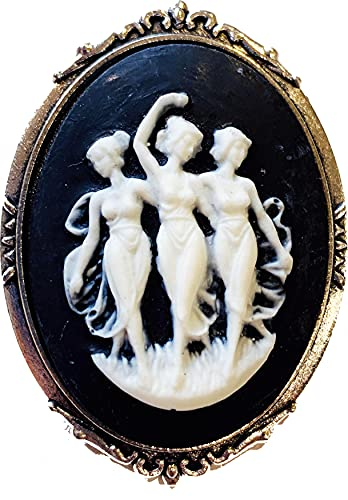 Black and White Three Graces Cameo Brooch Resin Silvertone
