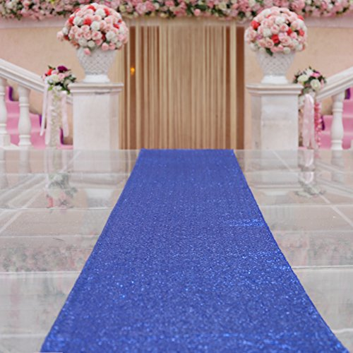 TRLYC Royal Blue Marriage Ceremony Runner Wedding Sequin Aisle Runner-24Inch by 15FT