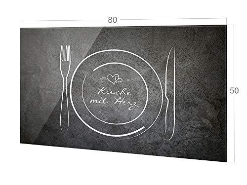 GRAZDesign Fliesenspiegel Küche Spruch Küche mit Herz, Glasrückwand Küche Besteck, Küchenrückwand Glas / 80x50cm