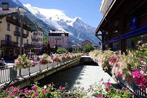 Francia Chamonix Mont Blanc Paisaje Diy 5D Pintura de diamante por número Kits únicos Decoración de pared para el hogar Decoración de pared de diamantes de imitación de cristal 40x50CM (Sin marco)