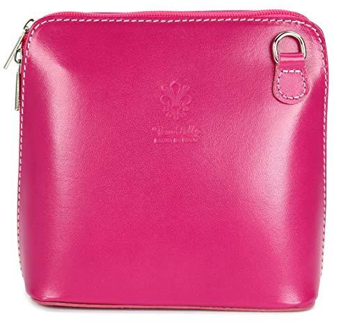 Belli ital. Ledertasche Damen Umhängetasche Handtasche Schultertasche - 17x16,5x8,5 cm (B x H x T) (Pink)