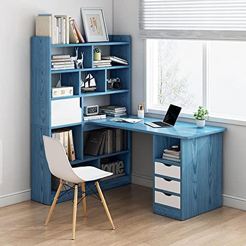 SHENXINCI Estante Multifuncional De Madera Maciza Mesa De Ordenador Integrada Escritorio De Esquina En Forma De L, para Aprendizaje, Oficina, Entretenimiento, 120 X 73 X 142 Cm, 3 Colores