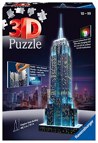 Imagen del producto Ravensburger 12566 1- Puzzle 3D Building: Empire State Building Night Edition, Multicolor