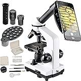 AOPWELL 顕微鏡80X-1600X - 複合単眼顕微鏡 - 子供と初心者向け - 光学ガラスレンズとLED照明付き - 細胞の画像とビデオを撮るため - スマートフォンカメラアダプター付属