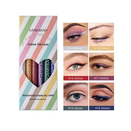 OVERMAL Coloured Eyeliner Liquid Set 6er Pack, Matte Eyeliner Glitter Fine Head Leicht zu tragen...