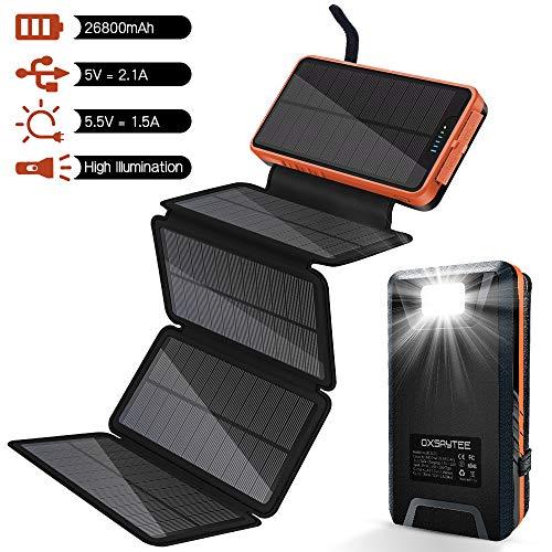 Powerbank Solar Externer Akku 26800mAh Solar Ladegerät mit 5 Solar Panels Dual USB 2.1A, Notfall-Energie mit LED-Licht & Haken für iPhone,Samsung, iPad,und andere Smartphones/Handys, Wasserdicht