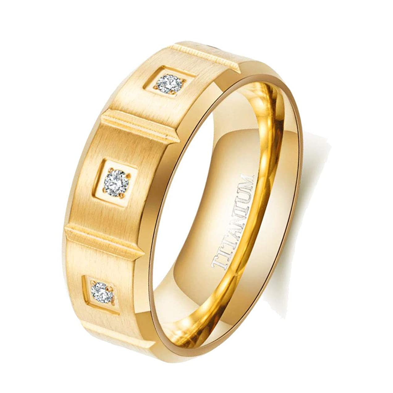 決定するコメントふざけたメンズリング マットイエローゴールドメッキ 8mm チタンスチール メンズリング 8個 キュービックジルコニア 結婚指輪 メンズリング ゴールド