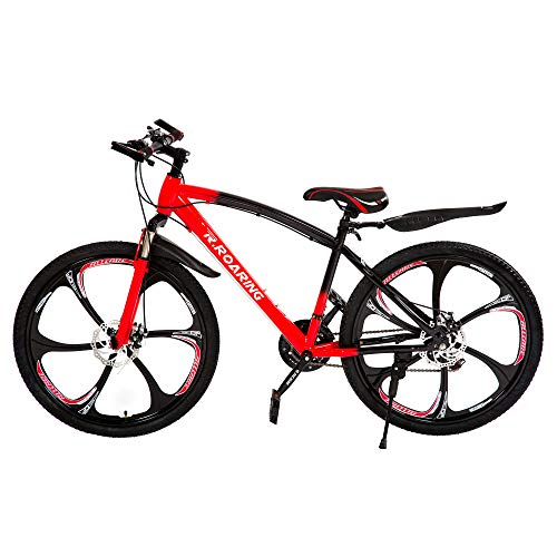 HGmart Mountain Bike 21 Speed Double Disc Brake 24-inch Wheels 6 Spoke Bicycle Front Suspension MTB for Adult or Teens, Black Red