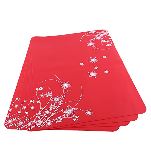 Set of 4 place mats, silicone placemats, place mats, coasters, plates, non-slip kitchen placemats for table, tableware, glasses, place mats for kitchen, dining table, 40 x 30 x 0.08 cm (red)