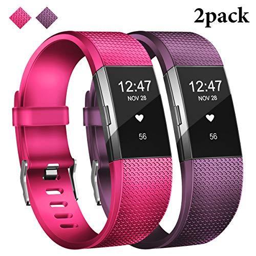 JOMOQ - Correa de silicona compatible con Fitbit Charge 2, pulsera de silicona para Fitbit Charge 2, mujeres y hombres bandas deportivas de repuesto (morado + rosa, pequeño: 14 – 17 cm)