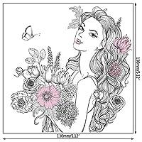 ゴージャスな女性DIYシリコンクリアスタンプシールスクラップブックエンボスアルバムの装飾Q1FD
